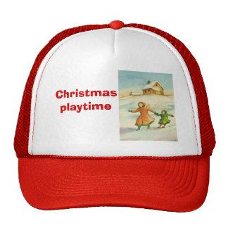 Vintage Christmas, children playing Trucker Hats