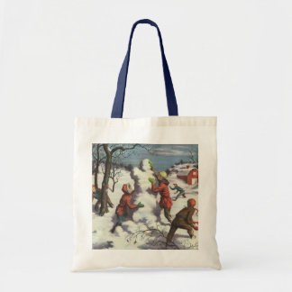 Vintage Christmas, Children Playing in the Snow Tote Bags
