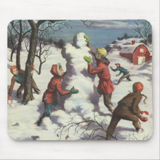 Vintage Christmas, Children Playing in the Snow Mouse Pad