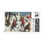 Vintage Christmas, Children Playing in the Snow Postage Stamps