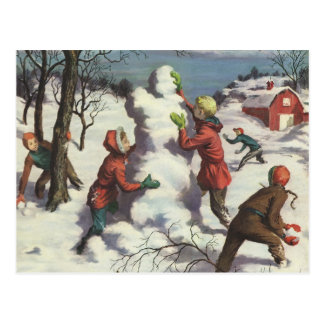 Vintage Christmas, Children Playing in the Snow Postcards