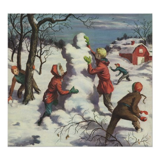 Vintage Christmas, Children Playing in the Snow Poster