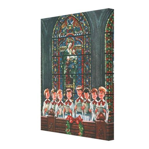 Vintage Christmas Children Singing Choir in Church Canvas Print