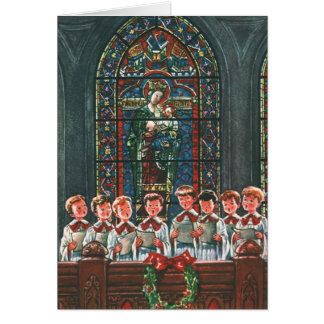 Vintage Christmas Children Singing Choir in Church Card