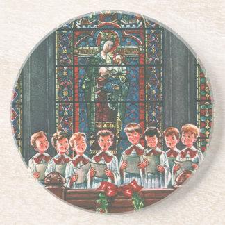 Vintage Christmas Children Singing Choir in Church Coaster