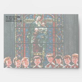 Vintage Christmas Children Singing Choir in Church Envelope