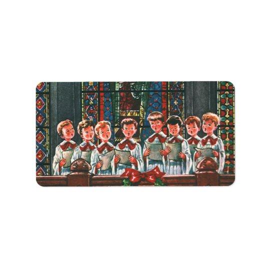 Vintage Christmas Children Singing Choir in Church Label