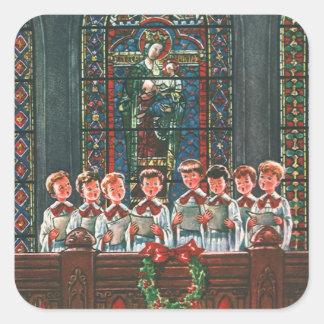 Vintage Christmas Children Singing Choir in Church Square Sticker