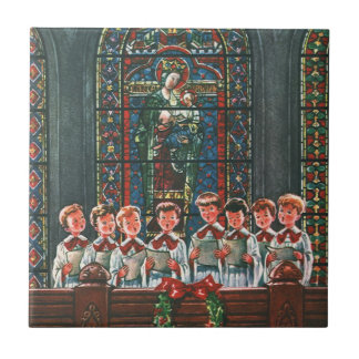 Vintage Christmas Children Singing Choir in Church Small Square Tile
