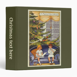 Vintage Christmas, Children Sitting on a Couch Binder