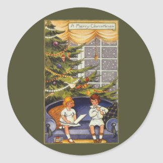 Vintage Christmas, Children Sitting on a Couch Classic Round Sticker