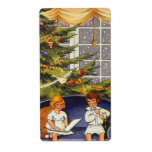 Vintage Christmas, Children Sitting on a Couch Shipping Label
