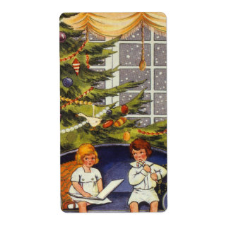Vintage Christmas, Children Sitting on a Couch Label