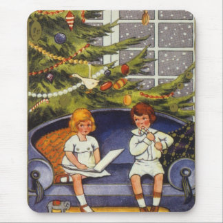Vintage Christmas, Children Sitting on a Couch Mouse Pad