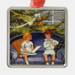 Vintage Christmas, Children Sitting on a Couch Square Metal Christmas Ornament
