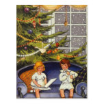 Vintage Christmas, Children Sitting on a Couch Postcard