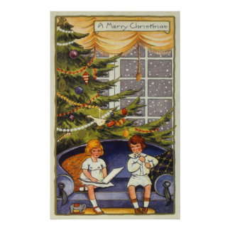 Vintage Christmas, Children Sitting on a Couch Poster