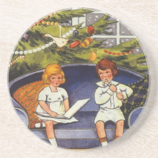 Vintage Christmas, Children Sitting on a Couch Sandstone Coaster