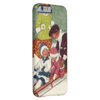Vintage Christmas, Children Sledding in the Snow Barely There iPhone 6 Case