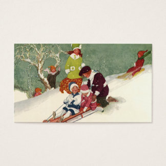 Vintage Christmas, Children Sledding in the Snow Business Card