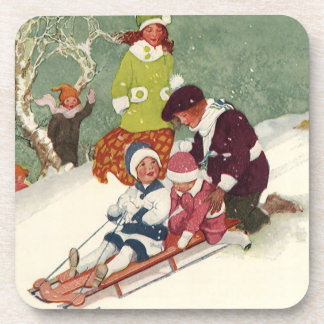 Vintage Christmas, Children Sledding in the Snow Coaster