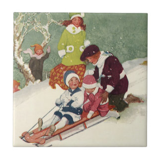 Vintage Christmas, Children Sledding in the Snow Small Square Tile
