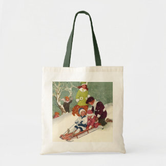 Vintage Christmas, Children Sledding in the Snow Tote Bag