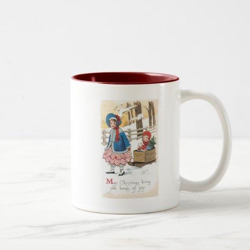 Vintage Christmas Children Sledding Mugs