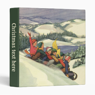 Vintage Christmas, Children Sledding on a Mountain 3 Ring Binder