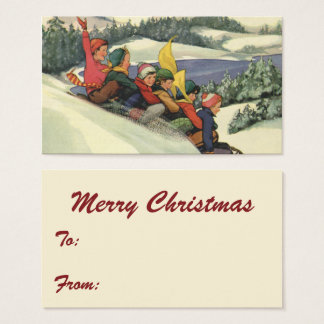 Vintage Christmas, Children Sledding on a Mountain Business Card