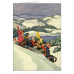 Vintage Christmas, Children Sledding on a Mountain Greeting Cards
