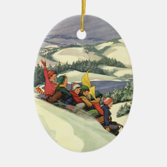 Vintage Christmas, Children Sledding on a Mountain Ceramic Ornament