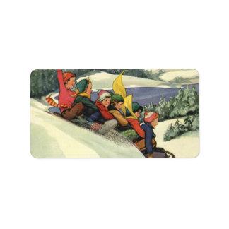 Vintage Christmas, Children Sledding on a Mountain Custom Address Label