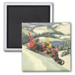 Vintage Christmas, Children Sledding on a Mountain 2 Inch Square Magnet