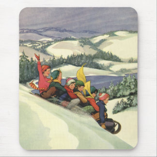Vintage Christmas, Children Sledding on a Mountain Mouse Pad