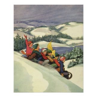Vintage Christmas, Children Sledding on a Mountain Poster