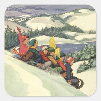 Vintage Christmas, Children Sledding on a Mountain Square Sticker