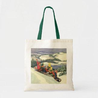 Vintage Christmas, Children Sledding on a Mountain Tote Bag