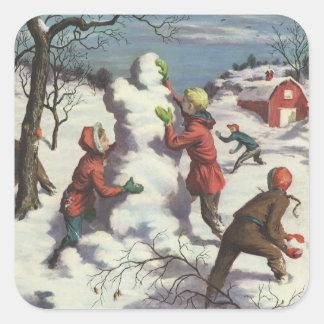Vintage Christmas, Children Snowball Fight Square Sticker