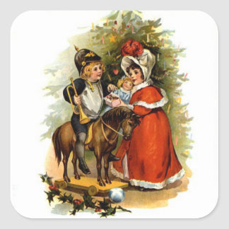 Vintage Christmas Children Square Sticker