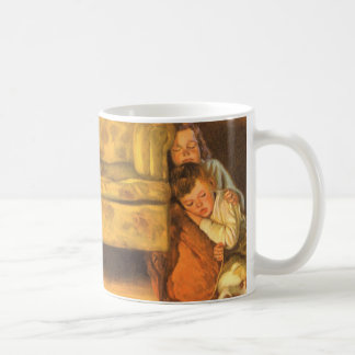 Vintage Christmas, Children Waiting for Santa Coffee Mug