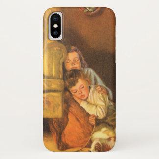 Vintage Christmas, Children Waiting for Santa iPhone X Case
