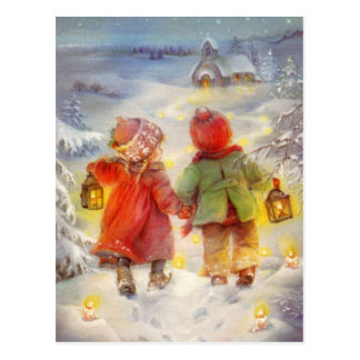Vintage Christmas children Walking In The Snow Postcard