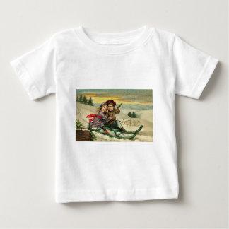 Vintage Christmas - Children Winter Scene Baby T-Shirt