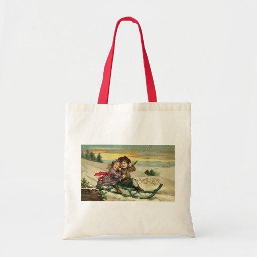 Vintage Christmas - Children Winter Scene Budget Tote Bag
