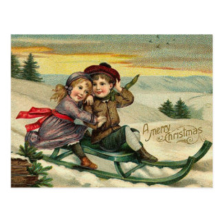 Vintage Christmas - Children Winter Scene Postcards