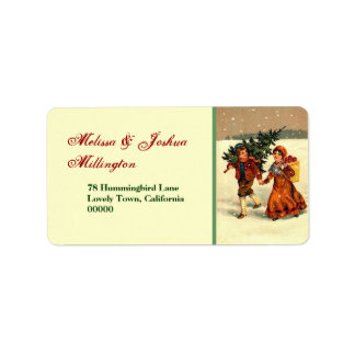 Vintage Christmas Children with Tree Label