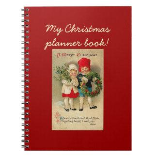 Vintage Christmas children wreath - Notebook