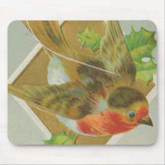 Vintage Christmas Chirpy Bird Mouse Pad