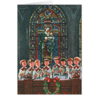 Vintage Christmas Choir in Church Children Singing Card